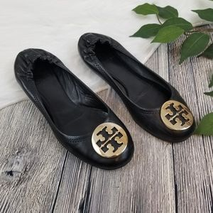 Tory Burch Black and Gold Reva Flats